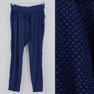 Old Navy tropix tie waist pants blue polka dot